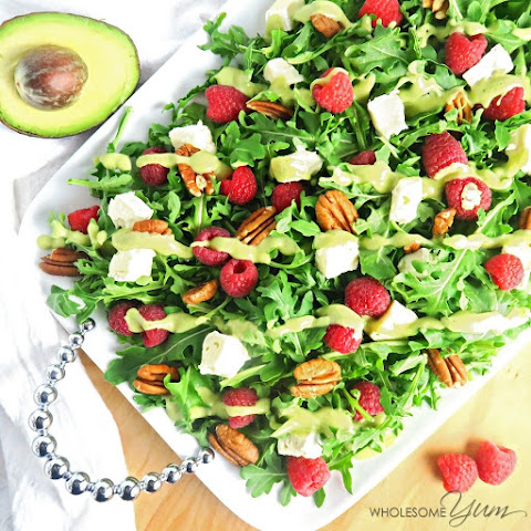 Raspberry Brie Salad with Creamy Avocado Dressing