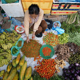 Laos Market by VAM Photography - Food & Drink Fruits & Vegetables ( laos, market, woman, vegetables, travel )