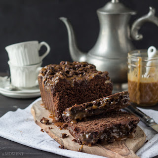 Chocolate Hazelnut Streusel Bread with Salted Caramel Drizzle