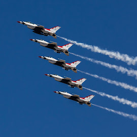 The Thunderbirds by Dave Lipchen - Transportation Airplanes ( five formation, diagonal, jets, smoke, thunderbirds,  )
