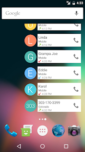 Call Log Widget Screenshot