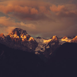 Serenity of the dark sunrise by Aleš Krivec - Landscapes Mountains & Hills ( hill, mountain, peak, white, travel, landscape, hiking, panorama, mountains, sky, nature, blue, snow, view, top, alps )