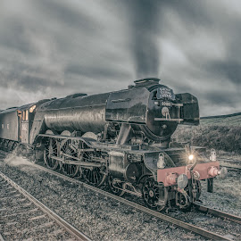 Flying Scotsman Departs Yorkshire by Aiden Wellock - Transportation Trains ( station, engine, carriages, loco, smoke, diner, flying, scotsman, 60103, train, long exposure, pullman, steam )
