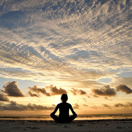 Yoga Sunrise by Andrew Morgan - Sports & Fitness Fitness ( zanzibar, dream, silhouette, beautiful, beach, sunrise, yoga )