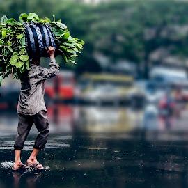 People In Mumbai by Rajdeep Wasekar - City,  Street & Park  Street Scenes ( miracle group, mumbai, rajdeep wasekar, people, rain )