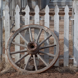 Weathered Fence with Wagon Wheel by Debbie Salvesen - Artistic Objects Other Objects ( fence, southwestern, wheel, wagon wheel, architecture, old west, santa fe, decaying, wild west, abandoned, weathered, new mexico,  )