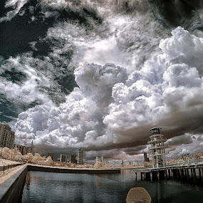 Doom Day Cloud by Jimmy Chiau - Landscapes Weather ( cloud formations, infrared, pwcstorm, pwcbwlandscapes-dq, landscapes, singapore, tanjong rhu )
