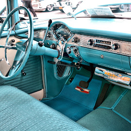 Blue Beauty by Michael Lopes - Transportation Automobiles ( '55 chevy, restored chevy 55 chevy interior, classic car, blue chevy )