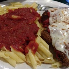 chicken parmesan and pasta... pasta was lacking flavor, but the sauce was good and the chicken was excellent. Would probably go for the sandwich next time since it's on Sherry Lynn's bread.