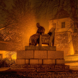 Nightly thinker by Klaus Müller - City,  Street & Park  City Parks ( statue, night, historic )
