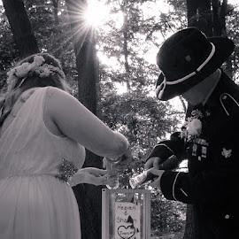 Sand Ceremony by Michelle Nolan - Wedding Bride & Groom ( army, sand, wedding, ceremony, bride, usa, groom, war, military )