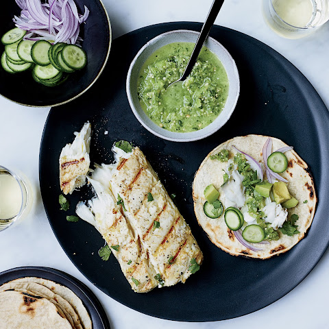 Fish Tacos with Tomatillo-Jalapeño Salsa