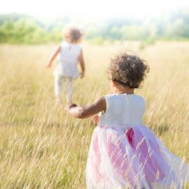 chasing feilds by Meghan Gilmore - Babies & Children Children Candids ( #sisters #summer #field #wheat #hot #dawn #running #fun #playing, KidsOfSummer )