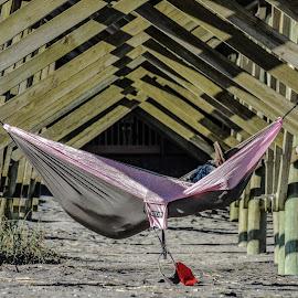 Hammock by Prentiss Findlay - City,  Street & Park  City Parks ( ocean hammock, hammock under pier, beach hammock, pier hammock, hammock )