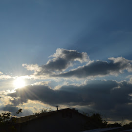 Peek a boo! by Heather Walton - Novices Only Objects & Still Life ( clouds, storm, shadows, rays, sun )