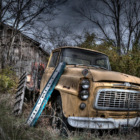Decayed Beauty by Vicki Overman - Transportation Automobiles ( farm, barn, truck barn, old truck, chevrolet sign )