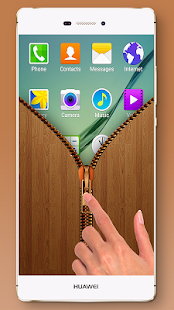 Wood Zipper Lock Screen - screenshot