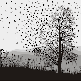 Crows in a tree chestnut by Vladimir Ceresnak - Drawing All Drawing ( isolated, elegance, death, illustration, crow, demon, flock, feather, creativity, bird, chestnut, hunter, magic, fly, background, dark, carrion, beak, air, claw, black, design, animal )