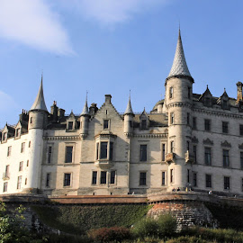 Dun Robin Castle by Tina Stevens - Buildings & Architecture Public & Historical ( scotland, sutherland, colors, architecture, dun robin, highlands, colours, balcony sky, turrets, castle, multi-storey, medieval, garden, baronial )