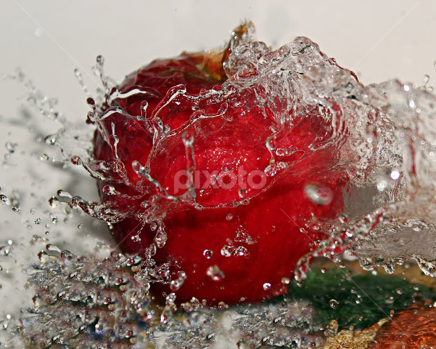by Dipali S - Artistic Objects Other Objects ( abstract, water, fruit, red, splash, fresh,  )