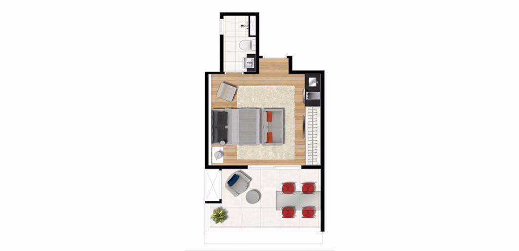 Planta Uphouse 33 m²
