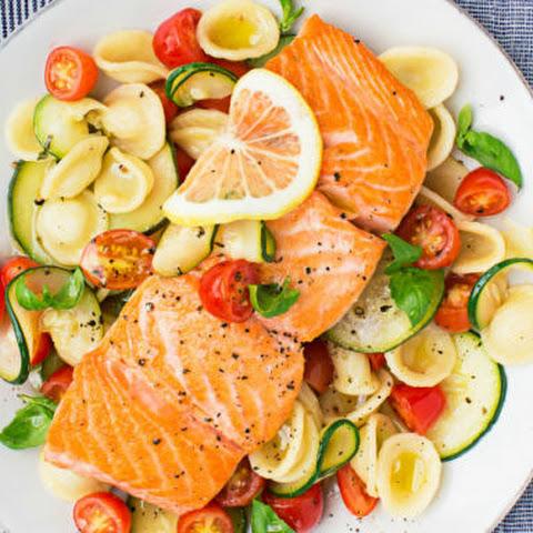 Warm Shrimp and Salmon Pasta Salad