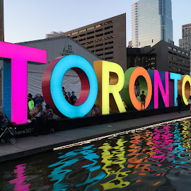 Bright Toronto Sign by Jillynn Markle - City,  Street & Park  Street Scenes ( urban, reflection, neon, downtown, colours )
