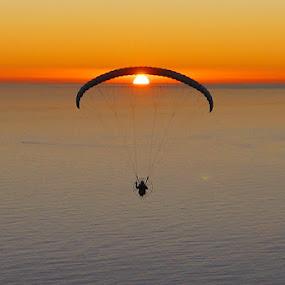 Paraglider and the sun by Anthony Allen - Landscapes Sunsets & Sunrises ( atlantic sunset, paraglider, atlantic ocean, powered paraglider, orange sky )