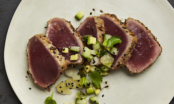Seared Tuna With Cucumber And Avocado Salsa Recipe | Yummly
