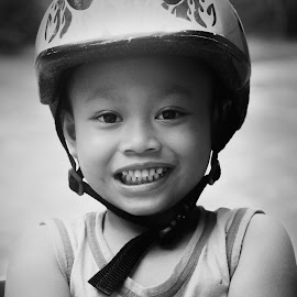 Charming Boy by Fafan Rizal - Babies & Children Child Portraits ( children, black and white, portrait, people, holiday )