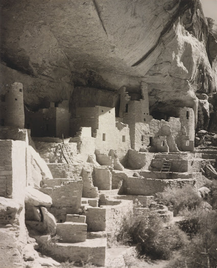For Gilpin, the southwestern landscape was more than just topography, it was an inhabited place full of  history and tradition.   She made her first trip to Mesa Verde, Colorado in 1924, highlighting the ruined cliff dwellings of the area's earliest residents.