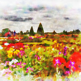 Gardens by Darin Williams - Digital Art Places ( paris, versailles, france, flowers, garden )