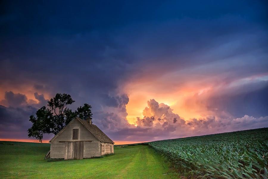 Colors of Nebraska by Ken Smith - Buildings & Architecture Decaying & Abandoned ( sunset, nebraska, thunderstorm, landscape )