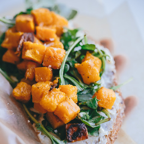 Butternut Squash, Arugula, and Roasted Garlic Goat Cheese Tartine