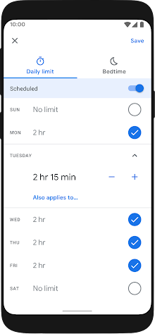 Set screen time limits