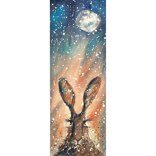 Moon hare rabbit bunny picture painting art