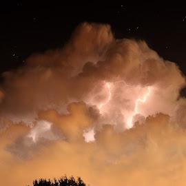 2 AM storm by Clarence Hagler - Landscapes Weather ( edmond, lightning, oklahoma, stars, cloud, night,  )