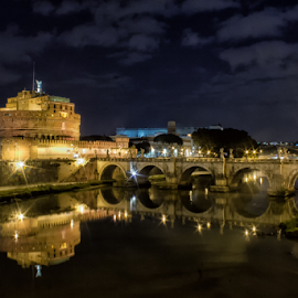 Castel S'Angelo - ROMA - ITALY by Gianluca Presto - Buildings & Architecture Bridges & Suspended Structures ( water, famous, water reflection, travel, architecture, historic, city, history, night photography, rome, nighttime, arches, night, bridge, italy, travel photography, river,  )