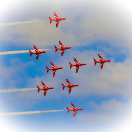 Reds in Formation by Simon O'Neill - Transportation Airplanes ( red arrows, airplanes, transport, daredevils, planes )