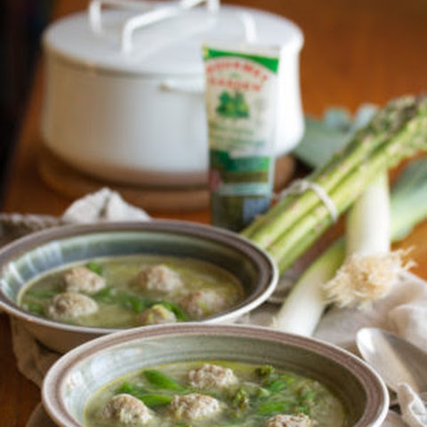 Spring Chicken Meatball Soup with Orzo