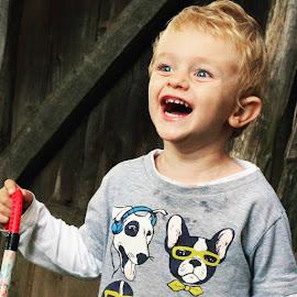 Happy by Bianca S. - Babies & Children Children Candids ( laughing, blonde, happy, child portrait, boy )