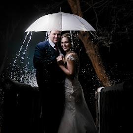 Rain by Lodewyk W Goosen (LWG Photo) - Wedding Bride & Groom ( wedding photography, wedding photographers, weddings, wedding, brides, night, bride and groom, wedding photographer, bride, rain, bride groom )