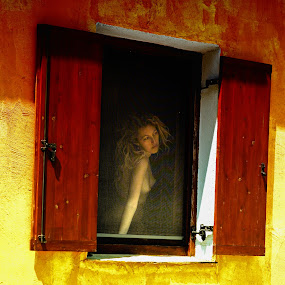 woman in a window by Ilias Zaxaroplastis - People Portraits of Women ( nude, window, color, woman, people )