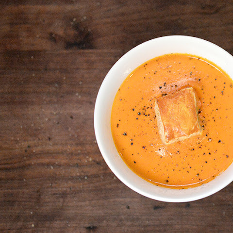 Tomato Soup with Puff Pastry Croutons