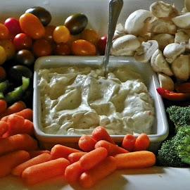 Vegetables by Sandy Stevens Krassinger - Food & Drink Fruits & Vegetables ( peppers, dip, broccoli, carrots, heirloom tomatoes, mushrooms )