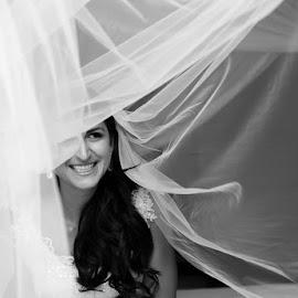 Under the Veil by Andrew Morgan - Wedding Bride ( blackandwhite, zanzibar, happy, wedding, beauty, veil, smile, bride )
