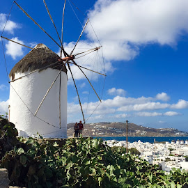 Windmill in Mykonos Overlooking the Sea by Lorna Littrell - Buildings & Architecture Other Exteriors ( vistas, mykonos, greece, sea, travel, windmill,  )