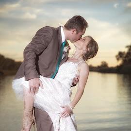 Lets Dance by John Filmalter - Wedding Bride & Groom ( countryside, colour, wedding, couple, bride )
