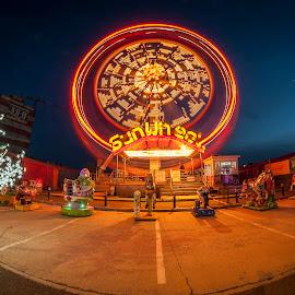 Ferris Wheel at night by Petrea Ionut - City,  Street & Park  Amusement Parks ( lights, bucharest, park, city, ferris wheel, city at night, street at night, park at night, nightlife, night life, nighttime in the city, , mood factory, color, lighting, moods, colorful, light, bulbs, mood-lites )