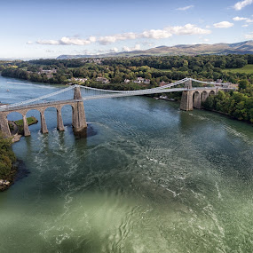 Menai bridge 2 by Steven Stamford - Buildings & Architecture Bridges & Suspended Structures ( anglesey, menai, telford, aerial image, wales, azimuth images, menai bridge, menai suspension bridge,  )